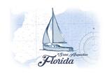 Saint Augustine  Florida - Sailboat - Blue - Coastal Icon