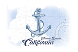 Venice Beach  California - Anchor - Blue - Coastal Icon