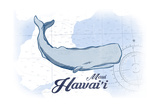 Maui  Hawaii - Whale - Blue - Coastal Icon