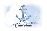 Santa Barbara  California - Anchor - Blue - Coastal Icon