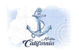 Malibu  California - Anchor - Blue - Coastal Icon