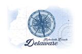 Rehoboth Beach  Delaware - Compass - Blue - Coastal Icon