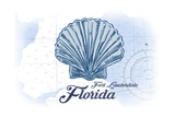 Fort Lauderdale  Florida - Scallop Shell - Blue - Coastal Icon