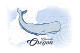 Seaside  Oregon - Whale - Blue - Coastal Icon