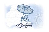 Seaside  Oregon - Beach Chair and Umbrella - Blue - Coastal Icon