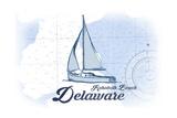Rehoboth Beach  Delaware - Sailboat - Blue - Coastal Icon