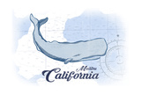 Malibu  California - Whale - Blue - Coastal Icon
