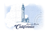 Redondo Beach  California - Lighthouse - Blue - Coastal Icon