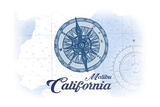 Malibu  California - Compass - Blue - Coastal Icon