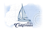 Malibu  California - Sailboat - Blue - Coastal Icon