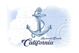 Redondo Beach  California - Anchor - Blue - Coastal Icon