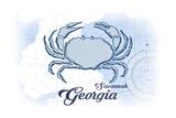 Savannah  Georgia - Crab - Blue - Coastal Icon