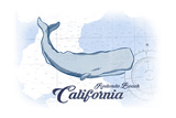 Redondo Beach  California - Whale - Blue - Coastal Icon