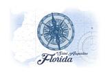 Saint Augustine  Florida - Compass - Blue - Coastal Icon