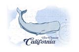 San Clemente  California - Whale - Blue - Coastal Icon