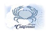 Monterey  California - Crab - Blue - Coastal Icon