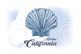 Malibu  California - Scallop Shell - Blue - Coastal Icon
