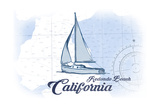 Redondo Beach  California - Sailboat - Blue - Coastal Icon