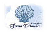 Hilton Head  South Carolina - Scallop Shell - Blue - Coastal Icon