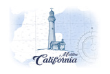 Malibu  California - Lighthouse - Blue - Coastal Icon