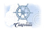 Encinitas  California - Ship Wheel - Blue - Coastal Icon