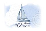 Seaside  Oregon - Sailboat - Blue - Coastal Icon