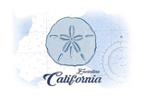 Encinitas  California - Sand Dollar - Blue - Coastal Icon