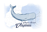 Virginia Beach  Virginia - Whale - Blue - Coastal Icon