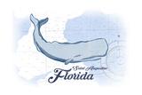 Saint Augustine  Florida - Whale - Blue - Coastal Icon