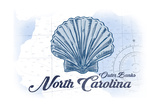Outer Banks  North Carolina - Scallop Shell - Blue - Coastal Icon