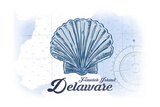 Fenwick Island  Delaware - Scallop Shell - Blue - Coastal Icon