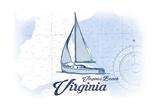 Virginia Beach  Virginia - Sailboat - Blue - Coastal Icon