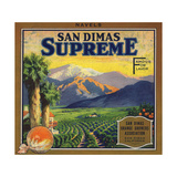 Supreme Brand - San Dimas  California - Citrus Crate Label