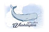 West Port  Washington - Whale - Blue - Coastal Icon