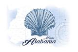 Mobile  Alabama - Scallop Shell - Blue - Coastal Icon