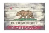 Carlsbad  CA - California State Flag - Barnwood