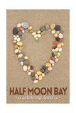 Half Moon Bay  California Is Where My Heart Is - Stone Heart on Sand