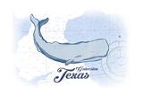 Galveston  Texas - Whale - Blue - Coastal Icon