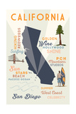 San Diego  California - Typography and Icons