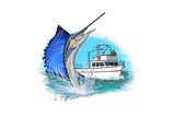 Sailfish and Fishing Boat - Icon