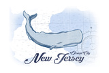 Ocean City  New Jersey - Whale - Blue - Coastal Icon