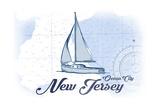 Ocean City  New Jersey - Sailboat - Blue - Coastal Icon