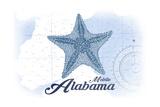 Mobile  Alabama - Starfish - Blue - Coastal Icon