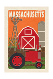 Massachusetts - Country - Woodblock