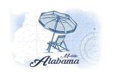 Mobile  Alabama - Beach Chair and Umbrella - Blue - Coastal Icon