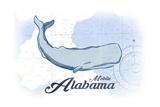 Mobile  Alabama - Whale - Blue - Coastal Icon
