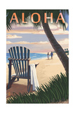 Adirondack Chairs and Sunset - Aloha