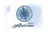 Mobile  Alabama - Compass - Blue - Coastal Icon