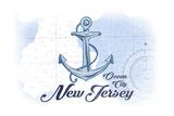Ocean City  New Jersey - Anchor - Blue - Coastal Icon