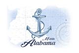 Mobile  Alabama - Anchor - Blue - Coastal Icon